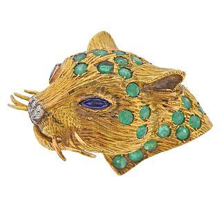 18k Gold Emerald Sapphire Diamond Leopard Head Brooch