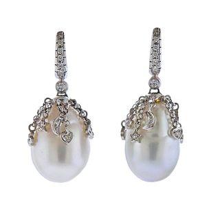 18K Gold Baroque Pearl Diamond Earrings