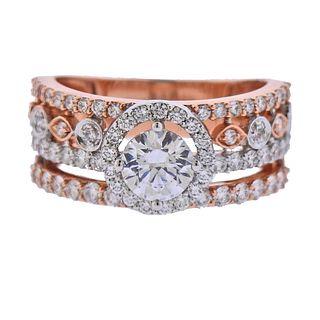 Eravos 14k Rose Gold Diamond Engagement Ring Setting