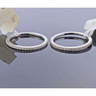 Memoire 18k Gold Diamond Wedding Band Ring 2pc Lot