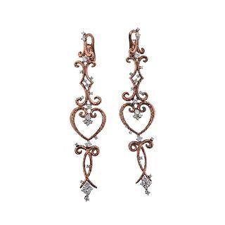 Italian 18K Rose Gold Diamond Long Drop Earrings
