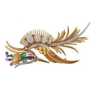 18k Gold 1960s Opal Ruby Emerald Diamond Bird Brooch