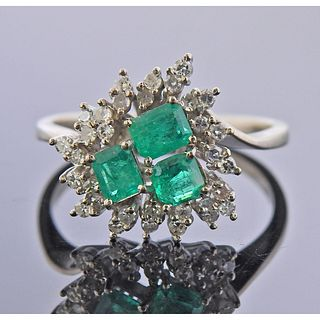 14k Gold Diamond Emerald Cluster Ring