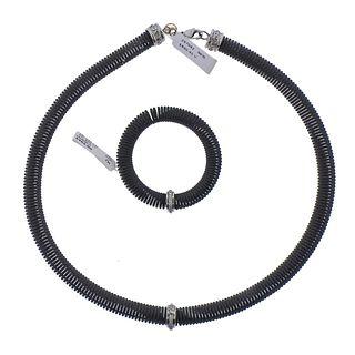 Alor 18k Gold Black Steel Diamond Spring Necklace Bracelet