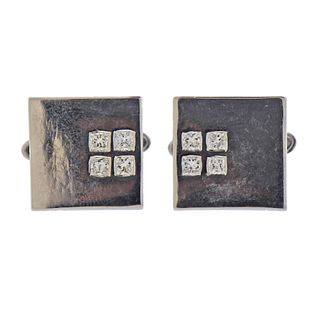 18k Gold Diamond Square Cufflinks