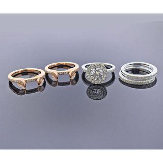 Eravos 18k Gold Engagement Wedding 5 Ring Set