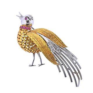 18k Gold Ruby Diamond Peacock Bird Brooch