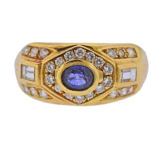18k 14k Gold Diamond Sapphire Ring
