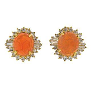 18K Gold Diamond Opal Cocktail Earrings