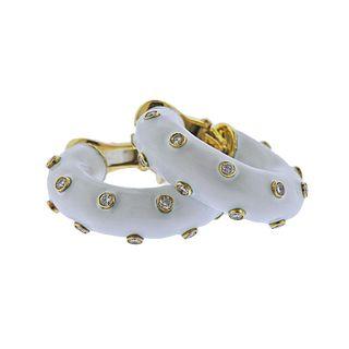 David Webb 18K Gold Diamond Enamel Hoop Earrings