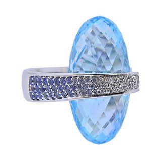 Io Si 18K Gold Blue Topaz Diamond Sapphire Cocktail Ring