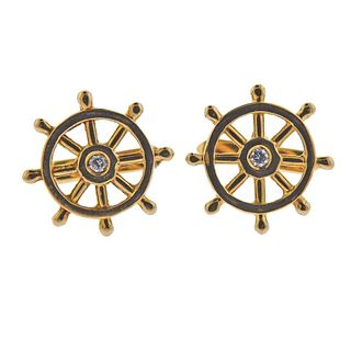 18k Gold Diamond Nautical Ship Wheel Cufflinks