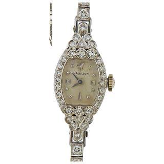 Hamilton Mid Century 14K Gold Diamond Watch