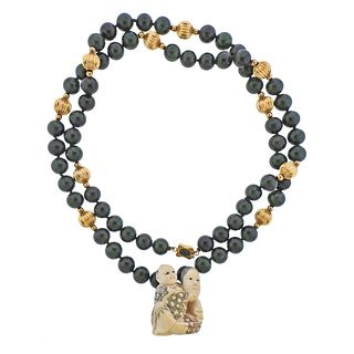 14K Gold Nephrite Bead Carved Stone Pendant Necklace
