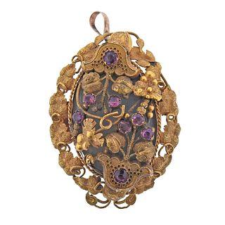 Antique 14K Gold Gemstone Brooch Pendant