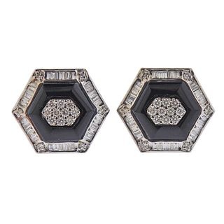 18k Gold Diamond Onyx Cufflinks