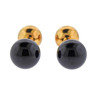 Tiffany & Co 18K Gold Onyx Dumbbell Cufflinks