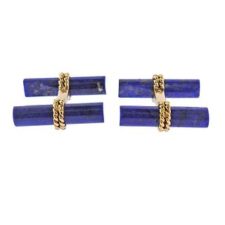 Van Cleef & Arpels 18K Gold Lapis Bar Cufflinks