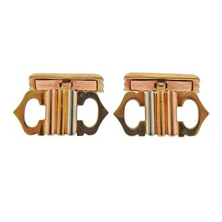 Cartier 18K Tri Color Gold Logo Cufflinks