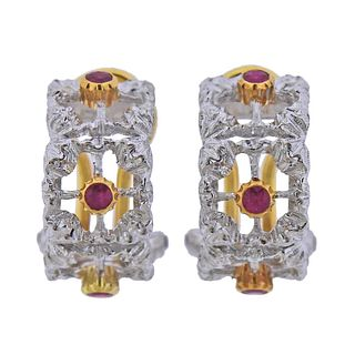 Buccellati 18k Gold Ruby Half Hoop Earrings