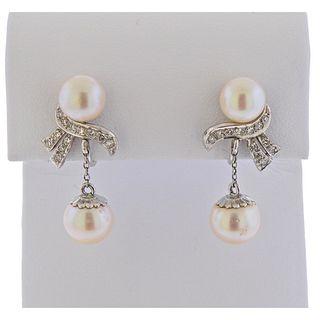 Mid Century 14k Gold Diamond Pearl Drop Earrings