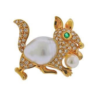 18k Gold Diamond Emerald Baroque Pearl Squirrel Brooch