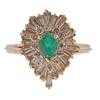 14k Gold Diamond Emerald Cocktail Ring