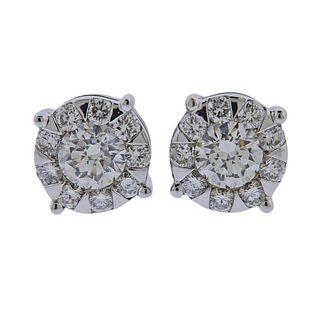 Memoire Gold 1.02ctw Diamond Stud Earrings
