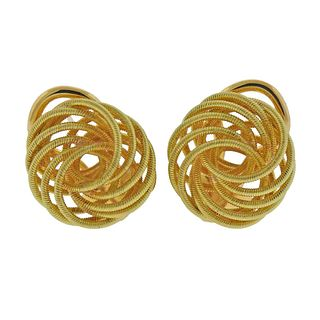 Buccellati 18k Gold Button Earrings