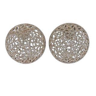 Buccellati Filidoro Sterling Silver Openwork Earrings