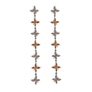 18k Gold Diamond Butterfly Long Drop Earrings