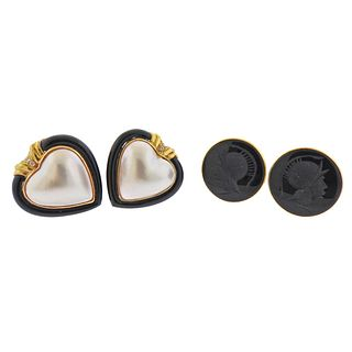 14k Gold Mabe Pearl Onyx Intaglio Diamond Earrings 2pc Lot