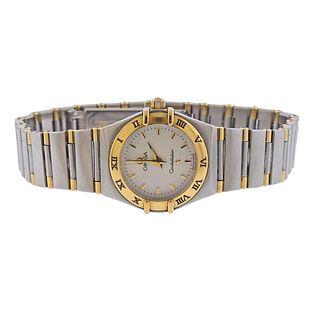 Omega Constellation Stainless Steel 18k Gold Quartz Watch