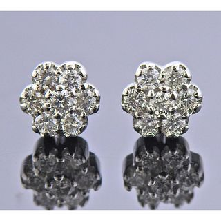 18k Gold Diamond Flower Stud Earrings