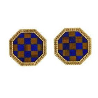 14k Gold Inlay Lapis Tiger Eye Checkered Cufflinks