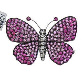 Cantamessa 18k Gold Silver 7.90ctw Pink Sapphire Diamond Butterfly Brooch