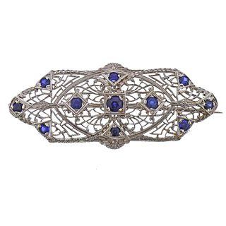Art Deco Filigree 18k Gold Sapphire Brooch Pendant
