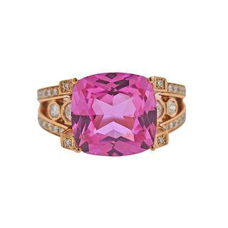 Ubaldi 18k Gold Diamond Pink Zircon Ring