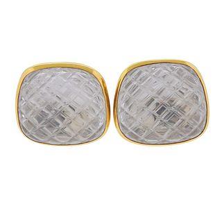 David Webb Carved Crystal 18k Gold Earrings