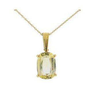 14k Gold Quartz Pendant Necklace