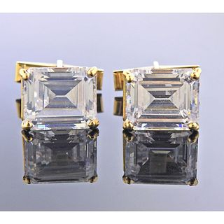 14k Gold Clear Stone Cufflinks