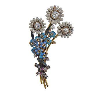 Antique Victorian 18k Gold Diamond Enamel Flower Brooch Pin