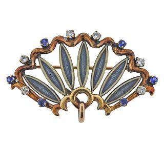 Antique 14k Gold Cloisonne Enamel Diamond Sapphire Brooch Pendant