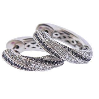 18k Gold Black White Diamond Hoop Earrings