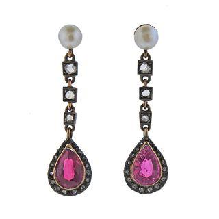 14k Gold Silver Rose Cut Diamond Pearl Pink Stone Earrings