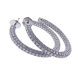 French 7.74ctw Diamond 18k Gold Hoop Earrings