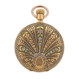Antique Elgin Four Color 14k Gold Diamond Hunter Case Pocket Watch