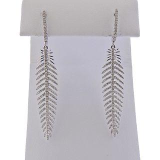 18k Gold Diamond Feather Drop Earrings