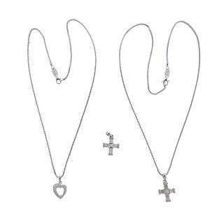 Di Modolo 18k Gold Diamond Cross Heart Pendant Necklace Lot