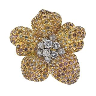 18k Gold 5.00ctw Diamond Flower Cocktail Ring